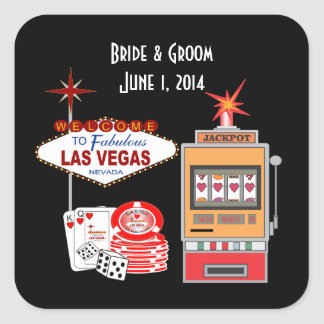 Love Vegas Style Black Wedding Stickers