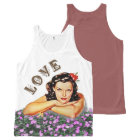 Love Vintage / Retro Girl with Flowers All-Over Print Singlet