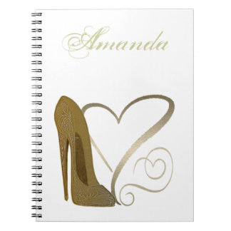 Love Vintage Stiletto Shoe and Hearts Notebook
