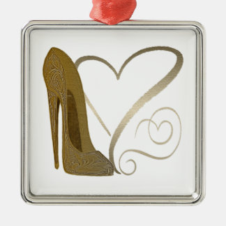 Love Vintage Stiletto Shoe Art and Hearts Silver-Colored Square Decoration