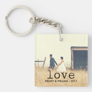 Love | Vintage Typewriter Text with Photo Key Ring