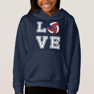 Love Volleyball  - Dark Red, White and Dark Blue