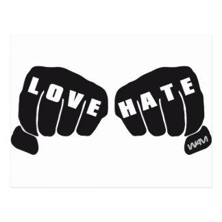 love vs hate postcard