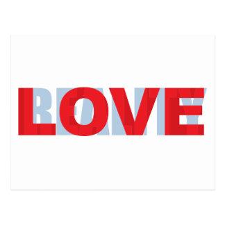 love vs reality postcard