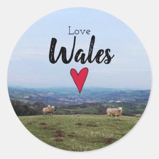 Love Wales Hill Landscape Welsh Farm Sheep Classic Round Sticker