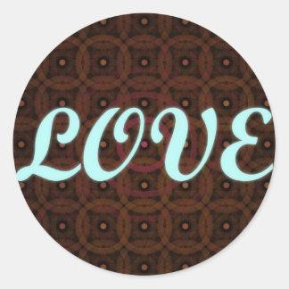 Love Warm Background Blue Brown Pink Round Stickers