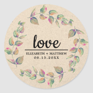 Love. Watercolor Branches Wedding Favor Stickers
