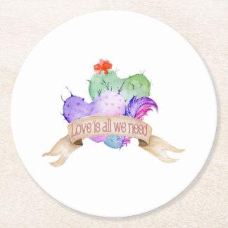 Love Watercolor Cacti Round Paper Coaster