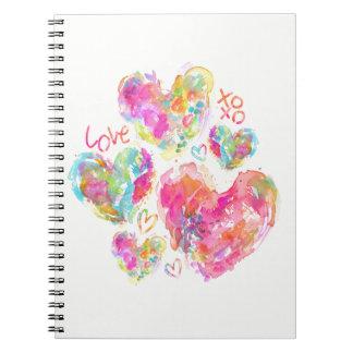 Love Watercolor Hearts Notebook