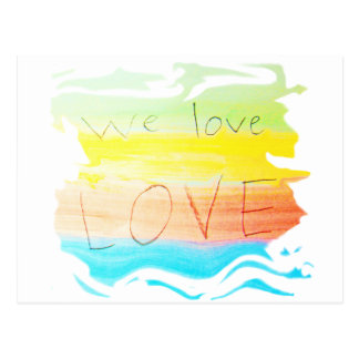 Love we love love rainbow colour striped postcard