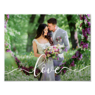 Love Wedding Bride and Groom Photo Poster