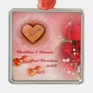 Love Wedding First Christmas Silver-Colored Square Decoration