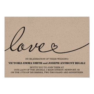 Love Wedding Invitation - Kraft Paper