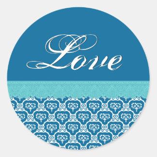 LOVE Wedding Peony Blue White and Aqua Lace V15 Round Sticker