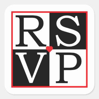 LOVE Wedding RSVP Envelope Seal Square Sticker