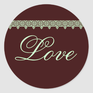 LOVE Wedding Sticker with Lace in Chocolate & Mint