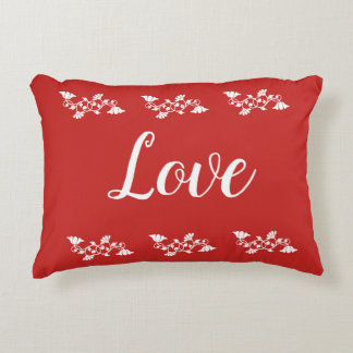 Love White and Red Accent Pillow