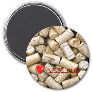 Love Wine Corks 7.5 Cm Round Magnet