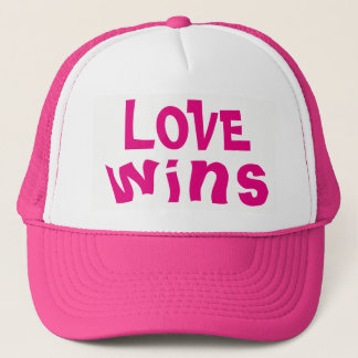 LOVE wins Cute Inspiring Quote PINK Trucker Hat