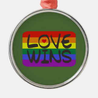 Love Wins Silver-Colored Round Decoration