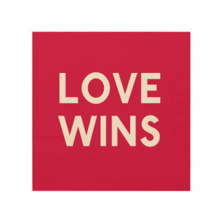 Love Wins Wood Square Canvas