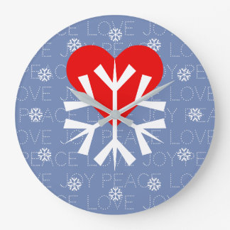 LOVE WINTER Heart Snowflake Large Clock