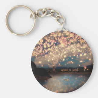 Love Wish Lanterns Basic Round Button Key Ring