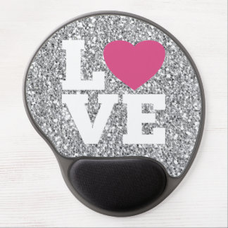 Love with a bright pink heart and Silver Glitter Gel Mousepads