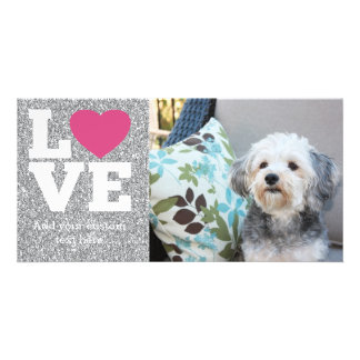 Love with a bright pink heart and Silver Glitter Photo Card