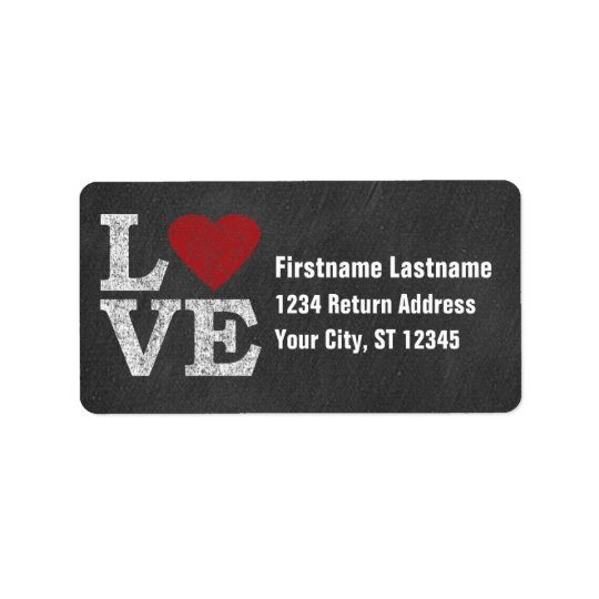 Love with a Bright Red Heart - Chalkboard Address Label