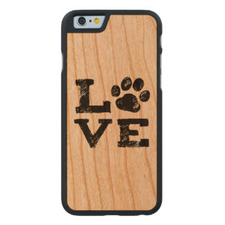 LOVE with Dog Paw Print Carved Cherry iPhone 6 Case