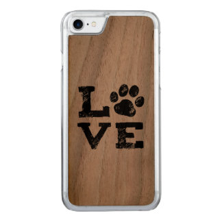 LOVE with Dog Paw Print Carved iPhone 8/7 Case