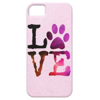 Love, with Dog Paw Print Pink & Purple Phone Case