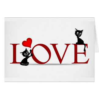 LOVE with little black kitty cats Greeting Card