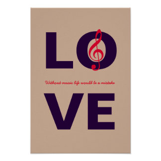 LOVE with musical note decor Poster