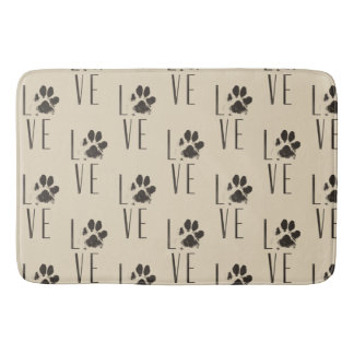 Love with Pet Paw Print Brown Grunge Typography Bath Mat