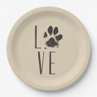 Love with Pet Paw Print Brown Grunge Typography Paper Plate