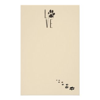 Love with Pet Paw Print Brown Grunge Typography Stationery