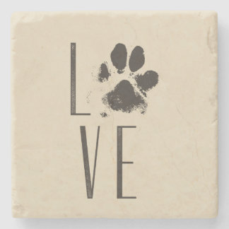 Love with Pet Paw Print Brown Grunge Typography Stone Coaster