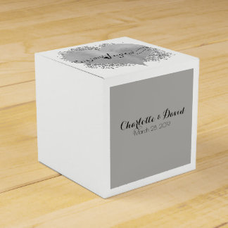 Love with Swirls and Silver Grey Favour Box