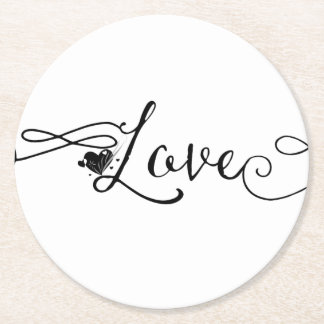 Love with Swirls Round Paper Coaster