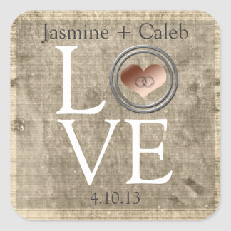 Love-With This Ring... Square Sticker