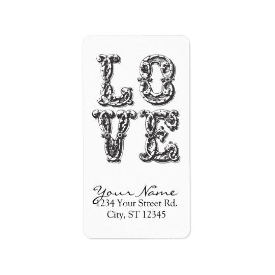 LOVE Word Art Address Label