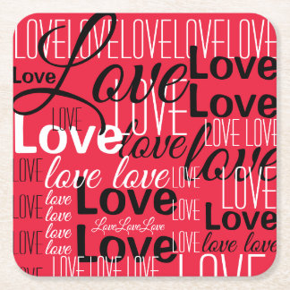 Love Word Art Pattern Square Paper Coaster