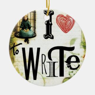 Love Writing Ceramic Ornament