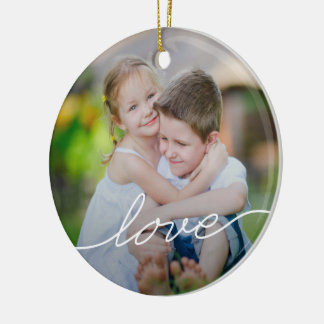 LOVE Writing Custom Photo Ornaments