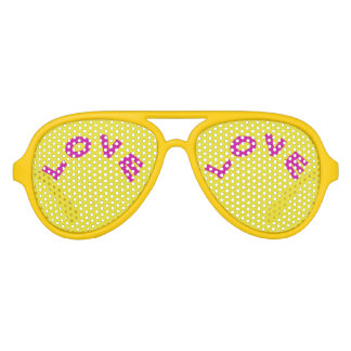 Love  Yellow Aviator Party Shades,  Sunglass Aviator Sunglasses