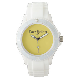 Love Yellow Custom Sporty White Silicon Watch
