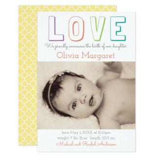 LOVE Yellow Quatrefoil - 3x5 Birth Announcement