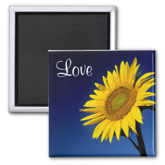 Love Yellow Sunflower  With Blue Sky Magnet